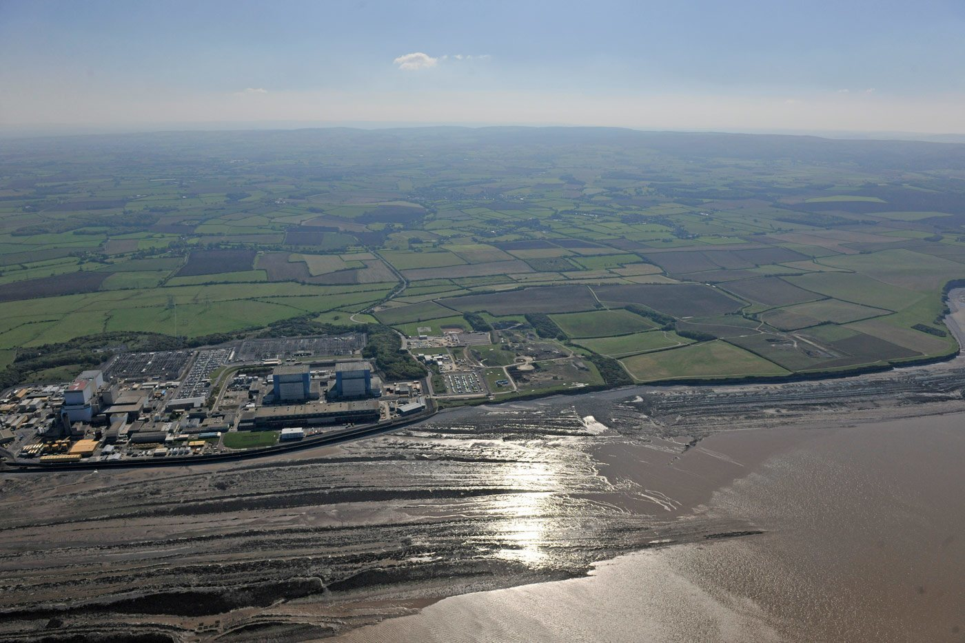 Aerial view of Hinkley Point site, with views of Hinkley A and Hinkley B, September 2011